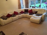 White Leather 6 Seater Sofa With Chaise Lounge