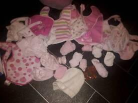 Baby girls bibs socks and hat