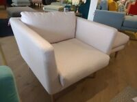 Adorable Mid-Century Armchair: 'Holly' by Sofa. Com in 'Pink Grapefruit' Squares by Designer Ola
