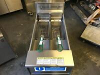 Double tank chips fryer commercial catering kitchen equipment 3 phase heavy duty fryer