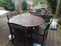 Wood garden table with chairs and cushion!
