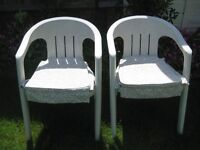 Two Sturdy White Plastic Garden Chairs for £10.00 with Optional Seat Cushions for £2.00