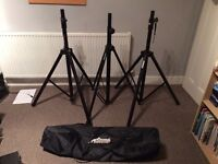 3 x Speaker Stands with case