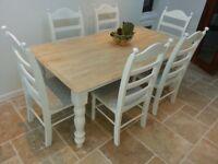 Gorgeous Shabby Chic Table Set 6ft x 3ft - Light Grey polkadot pads