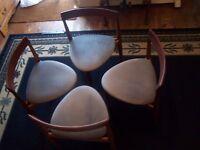 Danish Made Hans Olsen Frem Rojlr Extending Dining Table & Four 3 Legged Chairs Velvet Seats