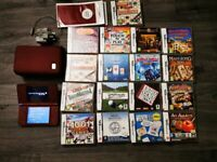 NINTENDO DSI XL WITH 17 GAMES, CHARGER AND CASE - BURGUNDY - EXCELLENT CONDITION