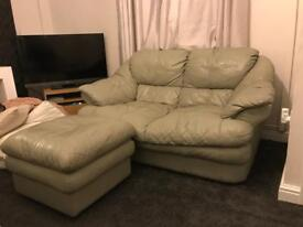 Green Leather 3 and 2 Seater Sofas