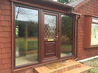 Double Glazed Windows - Dark Timber Effect PVC - Various Sizes