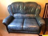 Two seater sofa, blue italian leather
