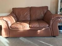 DFS Brown Leather Sofas - 2 seater