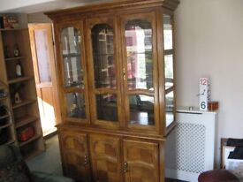 REAL WOOD DISPLAY CABINET ,GLASS DOORS & SHELVES