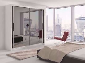 FAST DELIVERY - Brand New 2 Door Berlin Sliding Mirror Wardrobe -- 3 Different Sizes