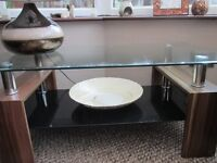 Glass Coffee Table with Shelf. Excellent Condition