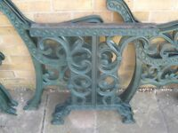 vintage solid cast iron garden furniture table, bench, chairs, ends
