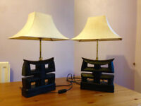 Two Chinese Oriental Wooden Extending / Telescopic Table Bedside Lamps
