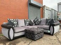 Grey & Black SCS Corner sofa & foot stool delivery 🚚