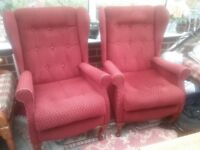 Two Sherborne high back easy chairs.