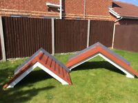 Two fibreglass self supporting canopies