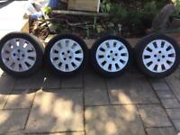 """4 x 15"""" Corsa alloy wheels, 1 good tyre"""