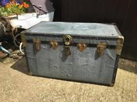 Vintage silver steamer trunk
