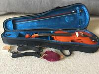 Full Size Violin, bow, case and shoulder supports
