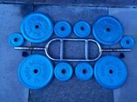 Hammer curl bar and 40kg of metal weight plates