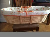 Nearly new moses basket with fitted sheet (no stand)- £6