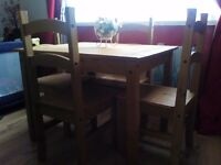 mexican pine table and chairs and nest of tables