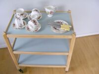 Vintage Wooden 3 tier tea trolley upcycled and painted duck egg blue