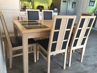 6 seat solid maple wood dining table