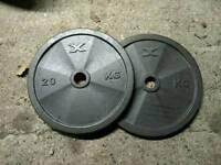 SOLD - 20kg weight plates x2