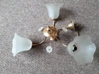 Brass effect ceiling light with three frosted glass shades.