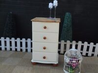 SOLID PINE FARMHOUSE TALL CHEST OF DRAWERS WITH DOVETAIL DRAWERS PAINTED WITH LAURA ASHLEY PAINT