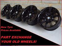 "1890 Genuine 18"" BMW MV2 135M 3 Series E46 Gloss Black Alloy Wheels"