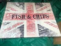 Fish & chips canvas picture British uk flag