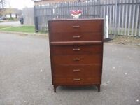 Very Clean Oak 50's 60's Era Tall Chest Of 6 Drawers