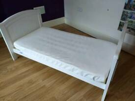 REDUCED PRICE Cotbed with mattress, duvets, lots of sheets and a duvet cover