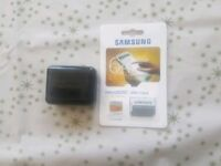 samsung evo ultra fast 64gb memory card and samsung headphones