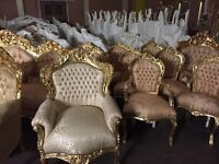 Selection of new French carved furnishings limited stock left new showroom opening cains Brewary