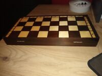 Wooden chess and checkers board