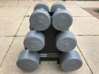 Set of Pro Fitness dumb bells on stand