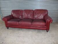 Antique Red Leather 3+2-seater Suite (Sofa)