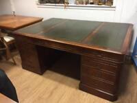 Large leather top partners desk