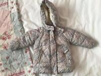 Next 9/12 Months Baby Girls Coat In Good Condition.