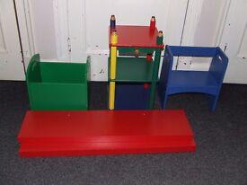 childrens storage set includes floating shelves