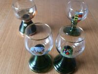 Four Glass Goblets With Green Spiral Bases.NEW Unwanted Gifts ,3-Germany,1-Austria