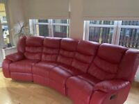 Red leather recliner sofa & chair