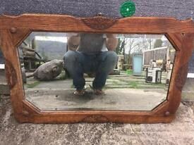 Oak antique mirror