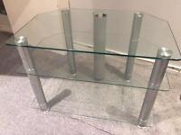 Glass TV and entertainment stand
