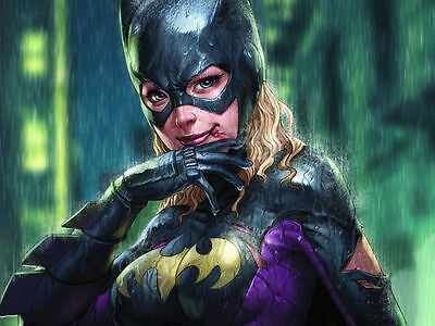 Batgirl Wipes the Blood from a Fight Canvas Prints Oil Painting Bat Girl Batman